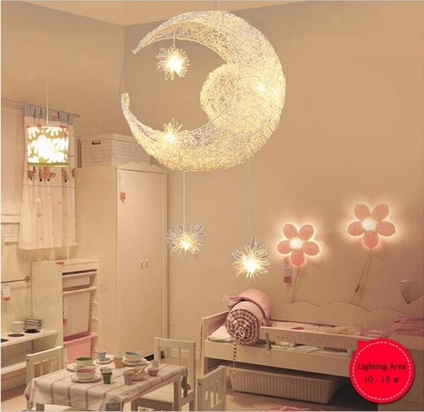 Modern Children Room Moon Star Pendant Light LED Baby Room