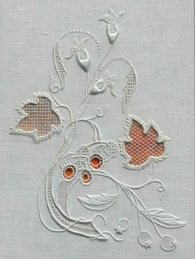RSN Fine Whitework. Two layers of fine linen with conservation net sandwiched between.  Linen is then carefully cut away to reveal the net which is then also stitched.