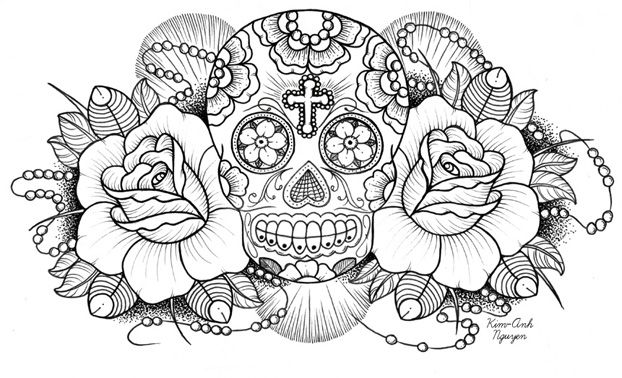 sugar skulls and roses coloring pages 02 - Coloring Pages Roses Skulls