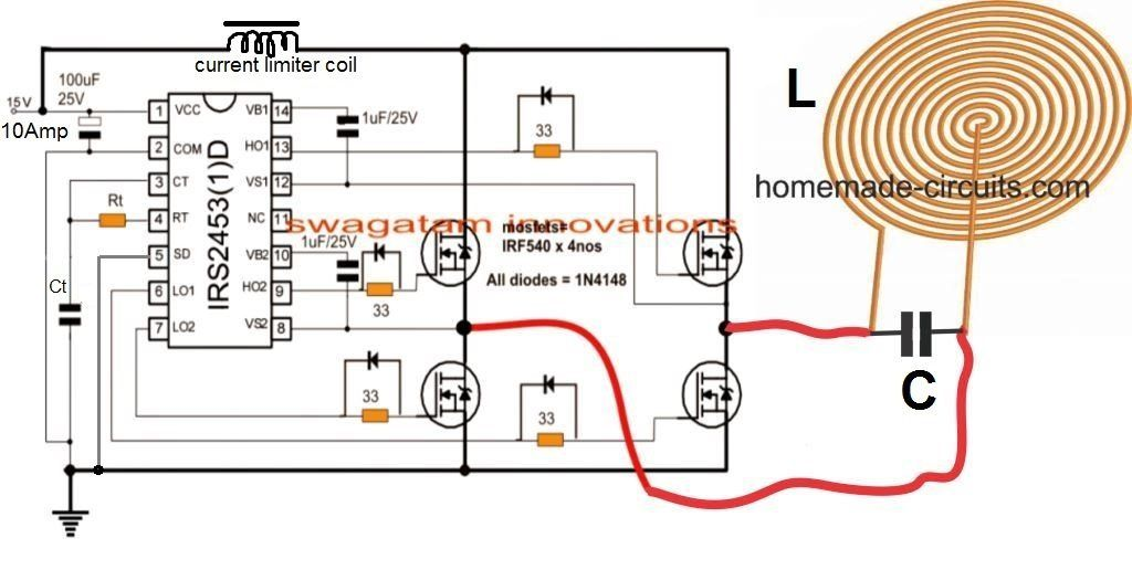 How To Design An Induction Heater Circuit Homemade Circuit Projects Circuit Projects Electrical Circuit Diagram Electronic Circuit Design