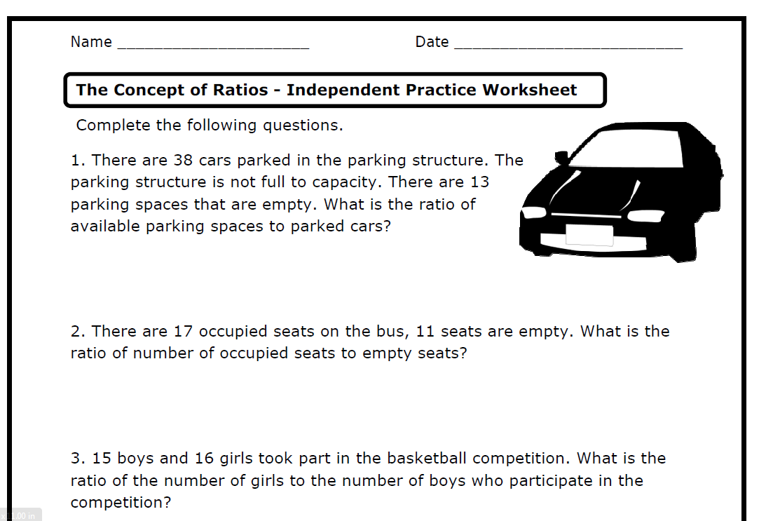 small resolution of Ratios (6.RP.A.1 .2 .3 .a .b .c .d) – Printable Worksheets – » The...    Math worksheets