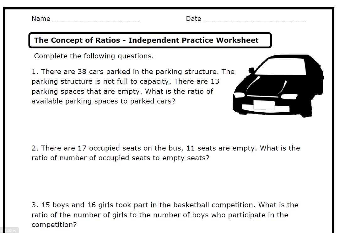 Ratios (6.RP.A.1 .2 .3 .a .b .c .d) – Printable Worksheets – » The...    Math worksheets [ 743 x 1083 Pixel ]