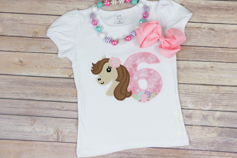 Girls Pony Birthday Shirt \u2022 Little Foal Top \u2022 Horse Themed Party \u2022 Bday Number \u2022 Western Cowgirl T-Shirt \u2022 Rodeo Lover Top \u2022 Applique Tee