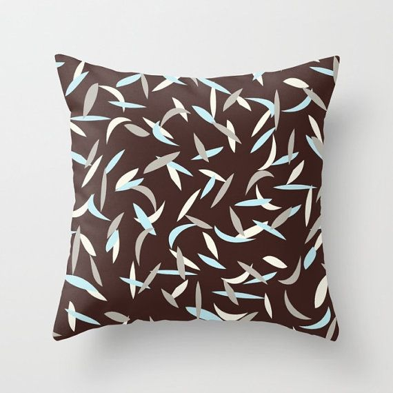 Blue and Brown Pillow Cover Blue Gray