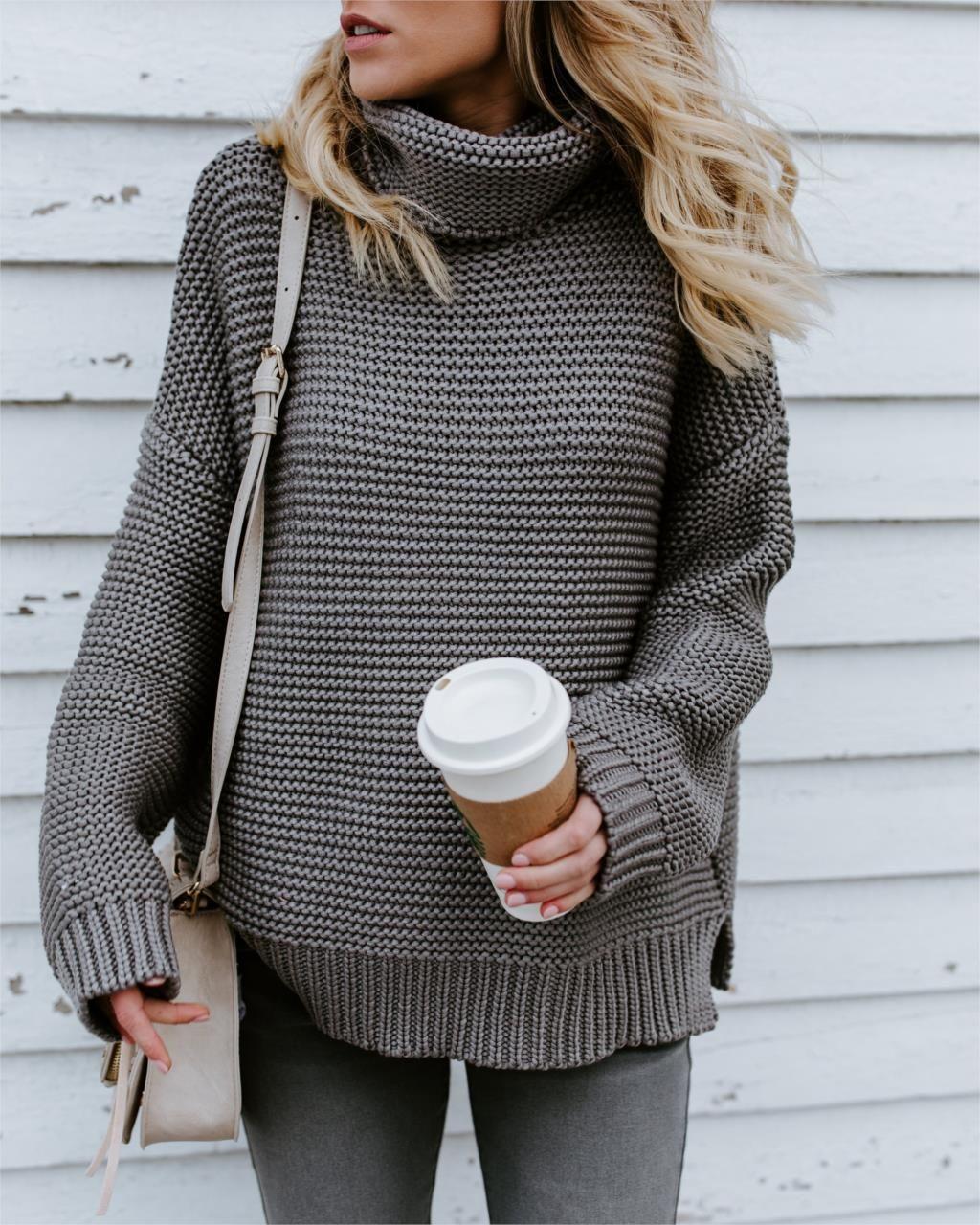0759fd27c9e1 FLULU Winter Sweater Women 2018 Fashion Casual Solid Turtleneck ...