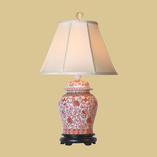 "Wayfair Table Lamps >> Oriental Furniture LMP-LPDYG0813E Chinese Porcelain Table Lamps 29"" Orange & White Temple Jar ..."