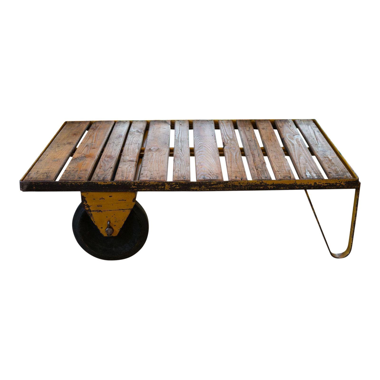 Best Vintage Belgian Industrial Wood And Iron Rolling Cart Or 400 x 300