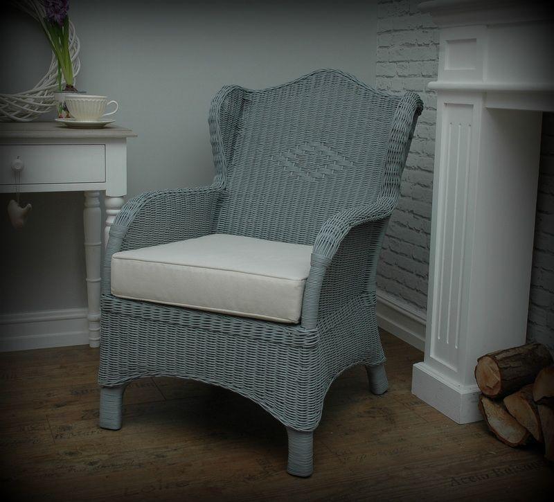 Prowansja Fotel Uszak Wiklinowy Szary Shabby 5072789466 Oficjalne Archiwum Allegro Wingback Chair Armchair Chair