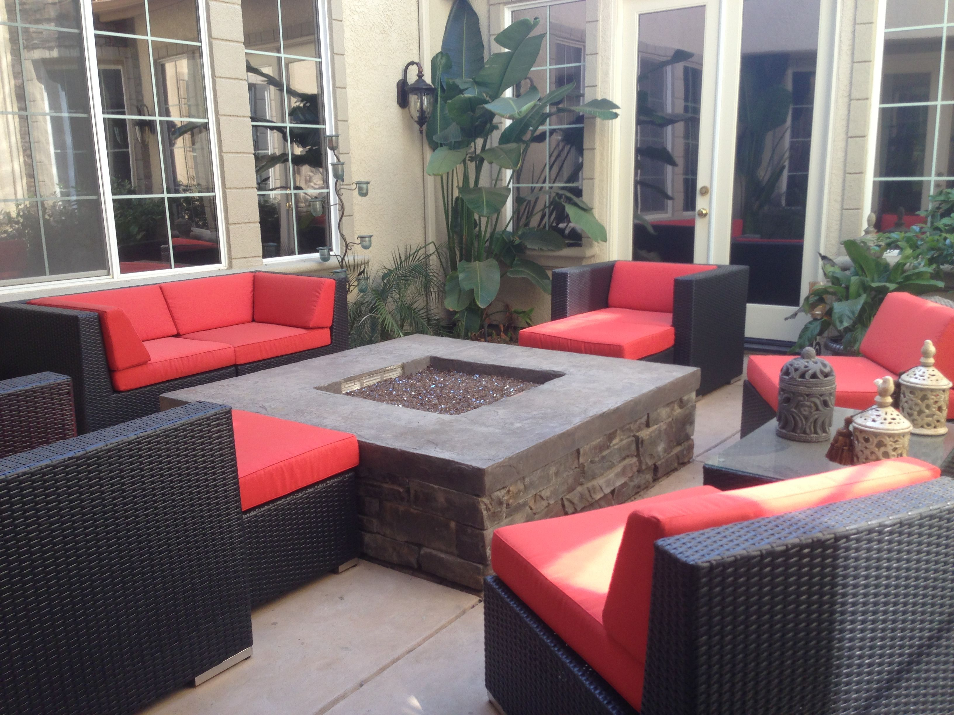 courtyard with copper glass fire pit for the home pinterest