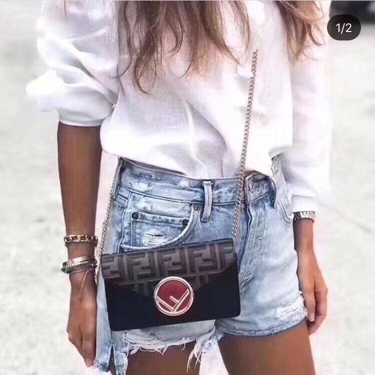 ea73c38631 Fendi belt bag leather waist chest bag with chain shoulder black ...