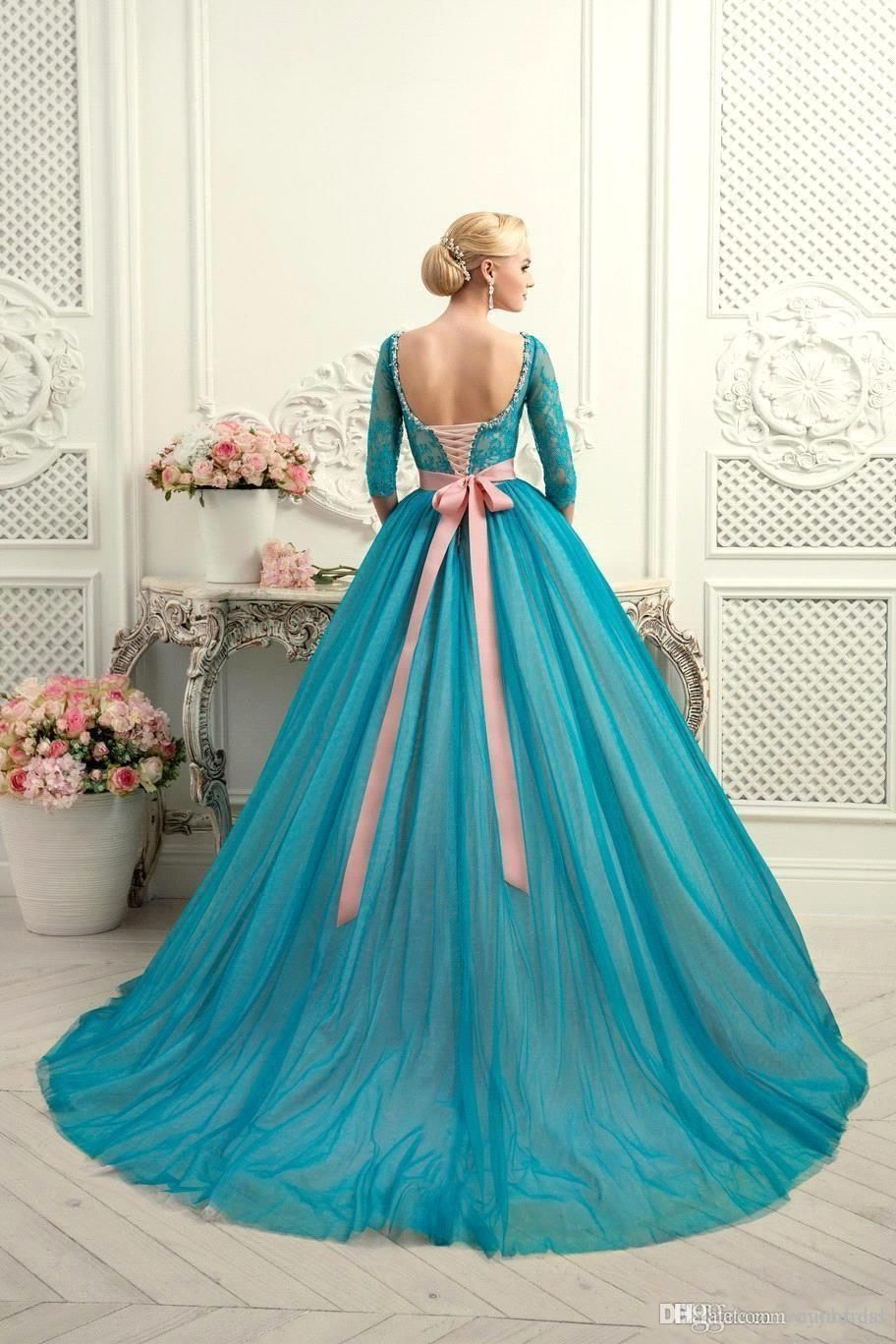 Modest Teal Quinceanera Dresses Square Neck Half Long Sleeves Lace ...