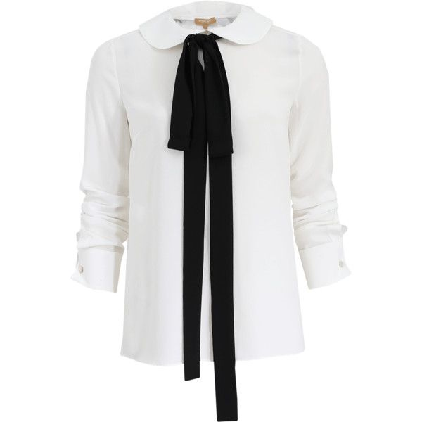 c53c5ab34eb1b Michael Kors Bow Neck Tie Blouse ( 895) ❤ liked on Polyvore featuring tops