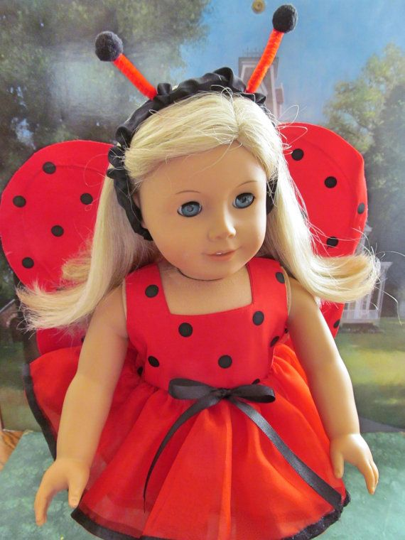 ladybug costume doll halloween costume dress up costume 18 inch doll clothes puppen pinterest. Black Bedroom Furniture Sets. Home Design Ideas