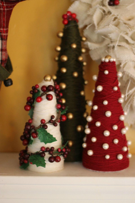 yarn wrapped styrofoam Christmas trees via Hey Little ...