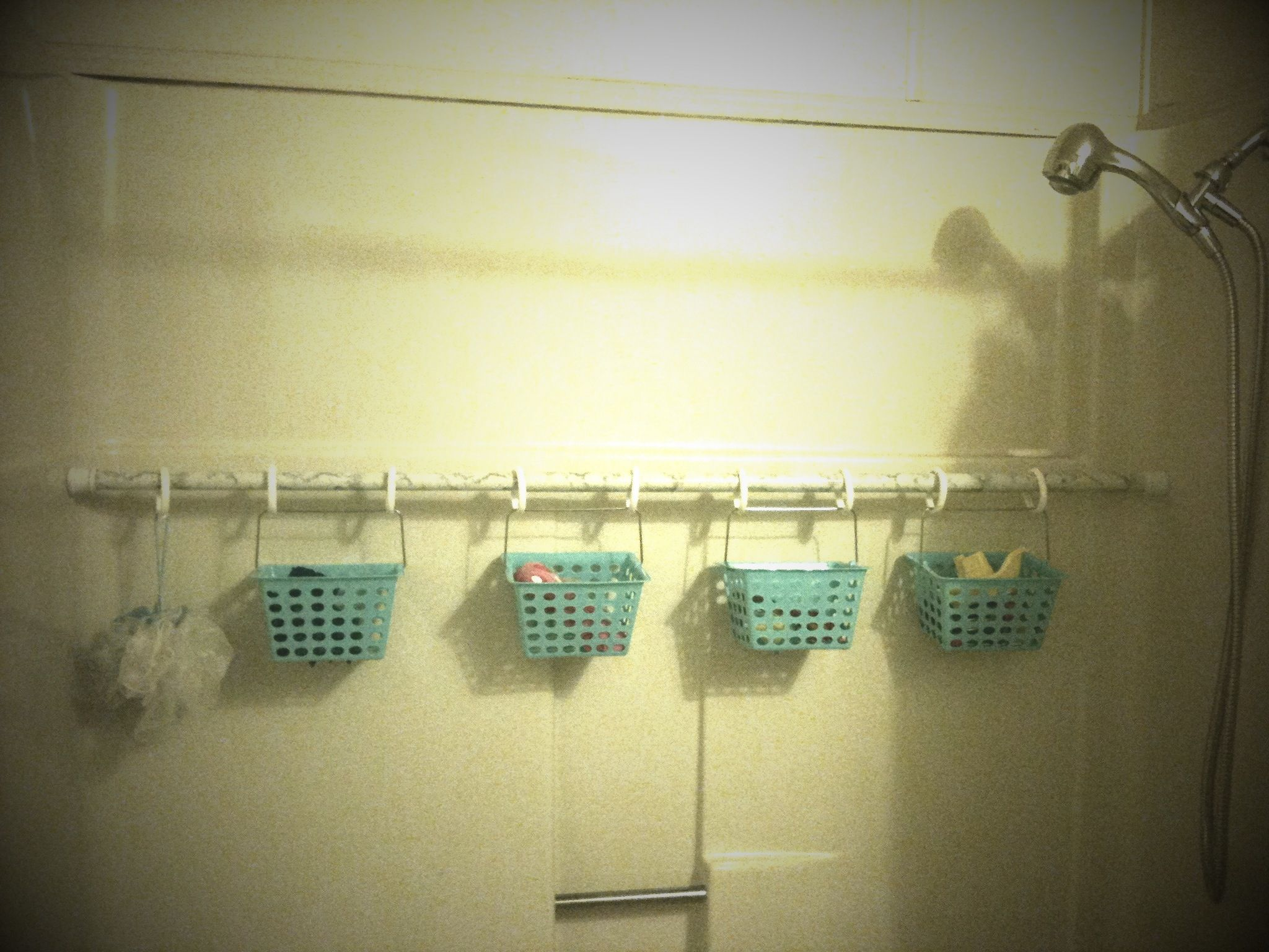 Shower Curtain Rod And Hooks From Thrift Store With Little Bins The Dollar Tree Total Spent 5 Bucks