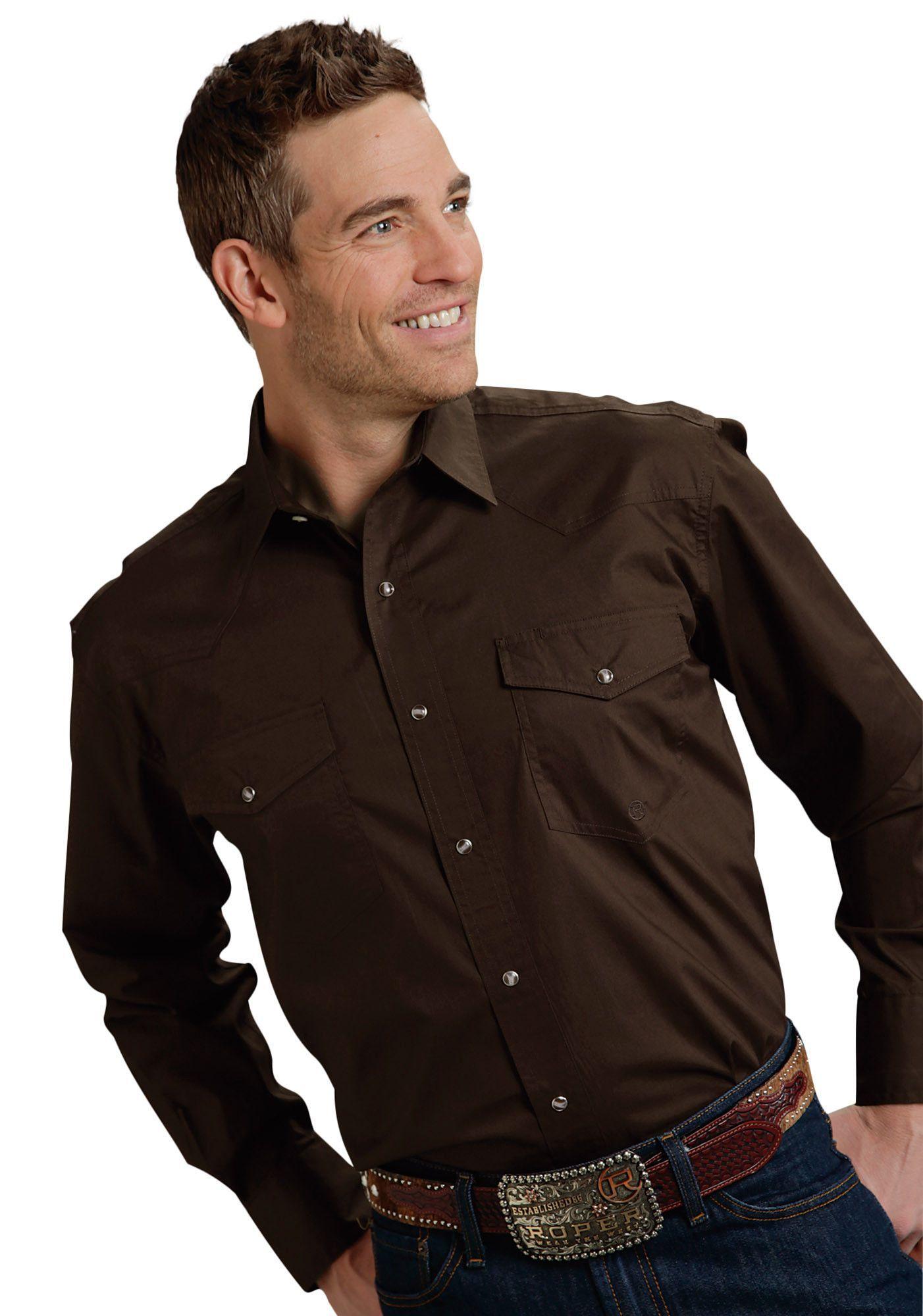 Roper mens basic solid poplin long sleeve shirt snap closure