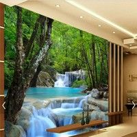 Home 3d Waterfall Nature Scenery Shower Curtain Wall Hanging Water Resistant Shielding C Wall Painting Living Room Custom Photo Wallpaper Wall Painting Decor
