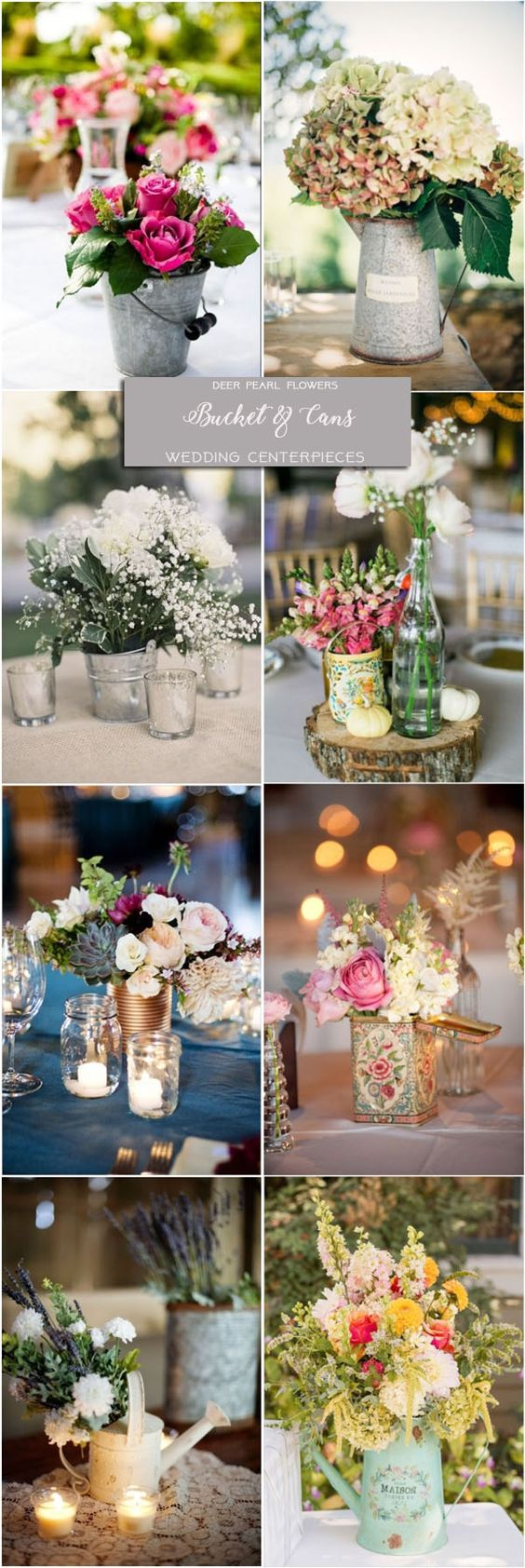 Rustic farm bucket tin-can and watering-can wedding centerpieces / http://www.deerpearlflowers.com/wedding-centerpiece-ideas/2/