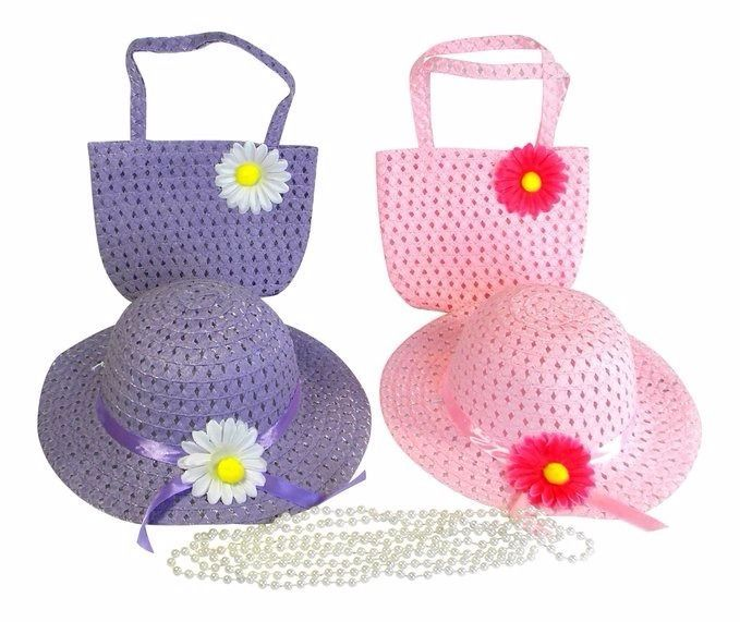 Pretty purses, pearls, and sun hats for girls.  An adorable tea party set that will inspire hours of dress up fun.