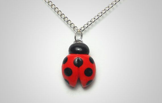 Ladybug Necklace Polymer Clay Nature Jewelry By