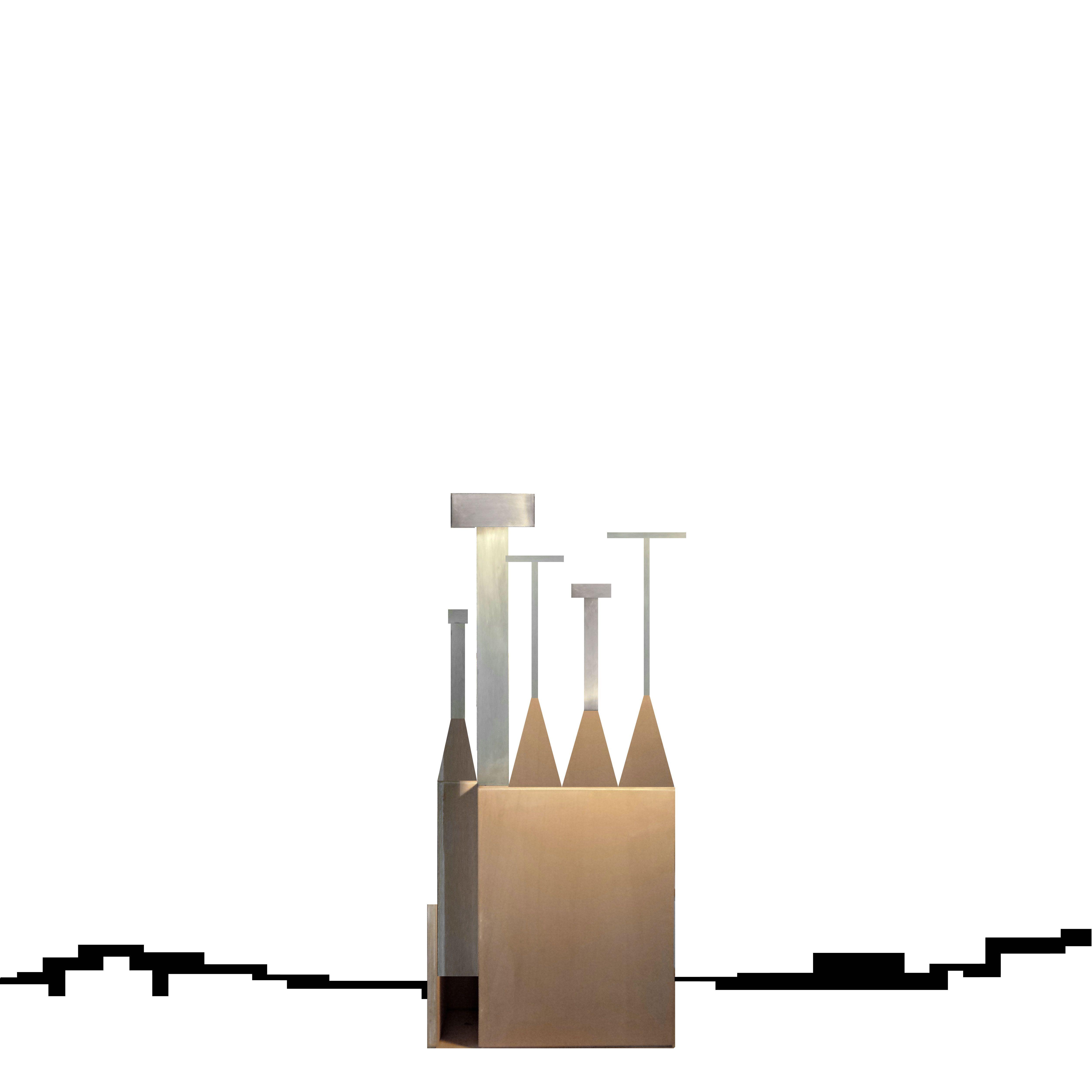 Beniamino Servino. Piccola chiesa con 5 croci/Lovely church with 5 silver crosses. LA FORMA FINITA È PROVVISORIA. THE FINISHED/COMPLETED FORM/SHAPE IS TEMPORARY.