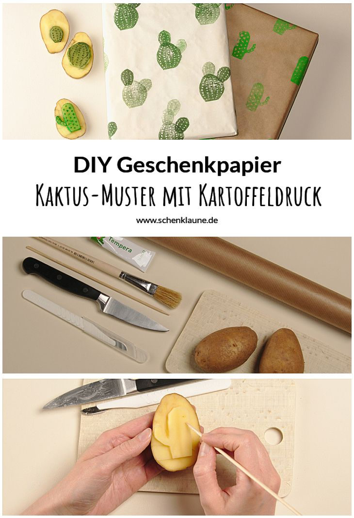 kaktus geschenkpapier mit kartoffeldruck gestalten diy geschenke verpacken pinterest. Black Bedroom Furniture Sets. Home Design Ideas