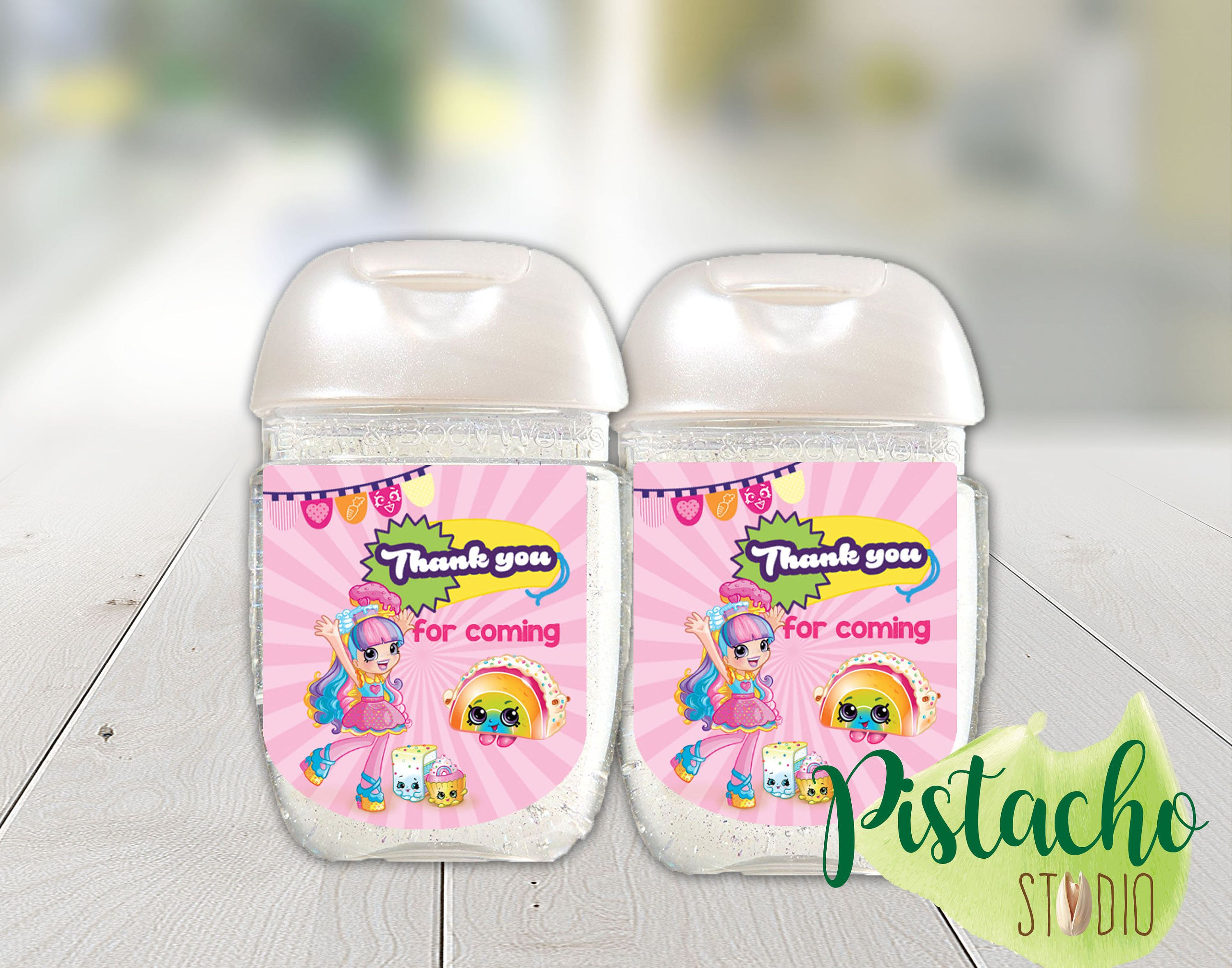 Printable Shopkins Birthday Favor Labels Mini Hand Sanitizer