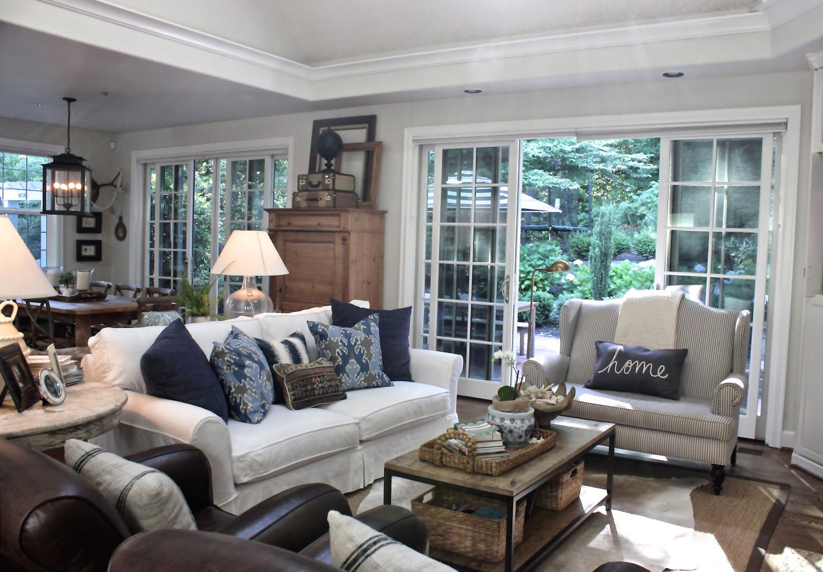 Great Open Family Room Neutrals Blue Brown Living