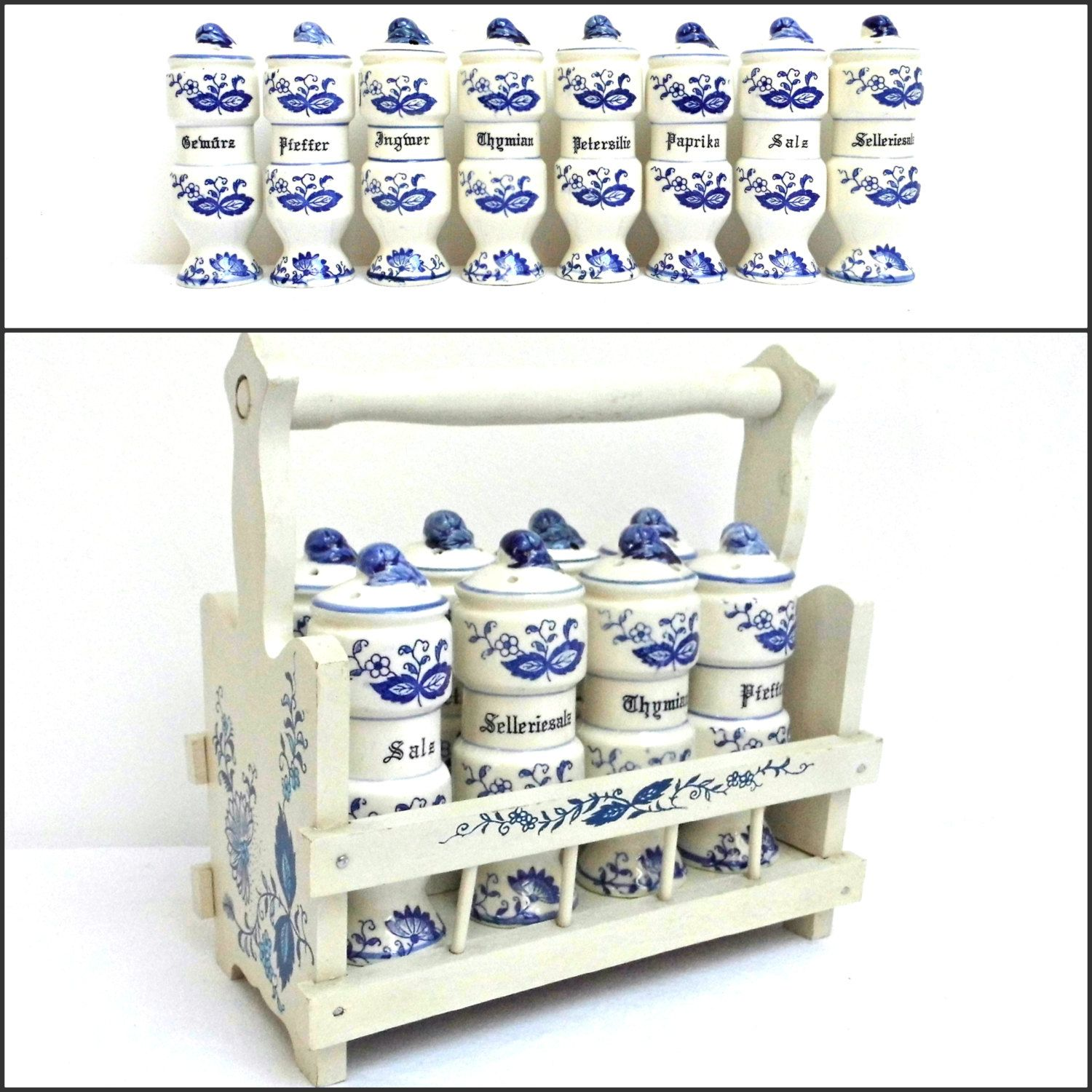 vintage wood spice rack caddy holder german 8 white blue ceramic vintage wood spice rack caddy holder german 8 white blue ceramic spice jar canister container kitchen counter display storage shabby cottage