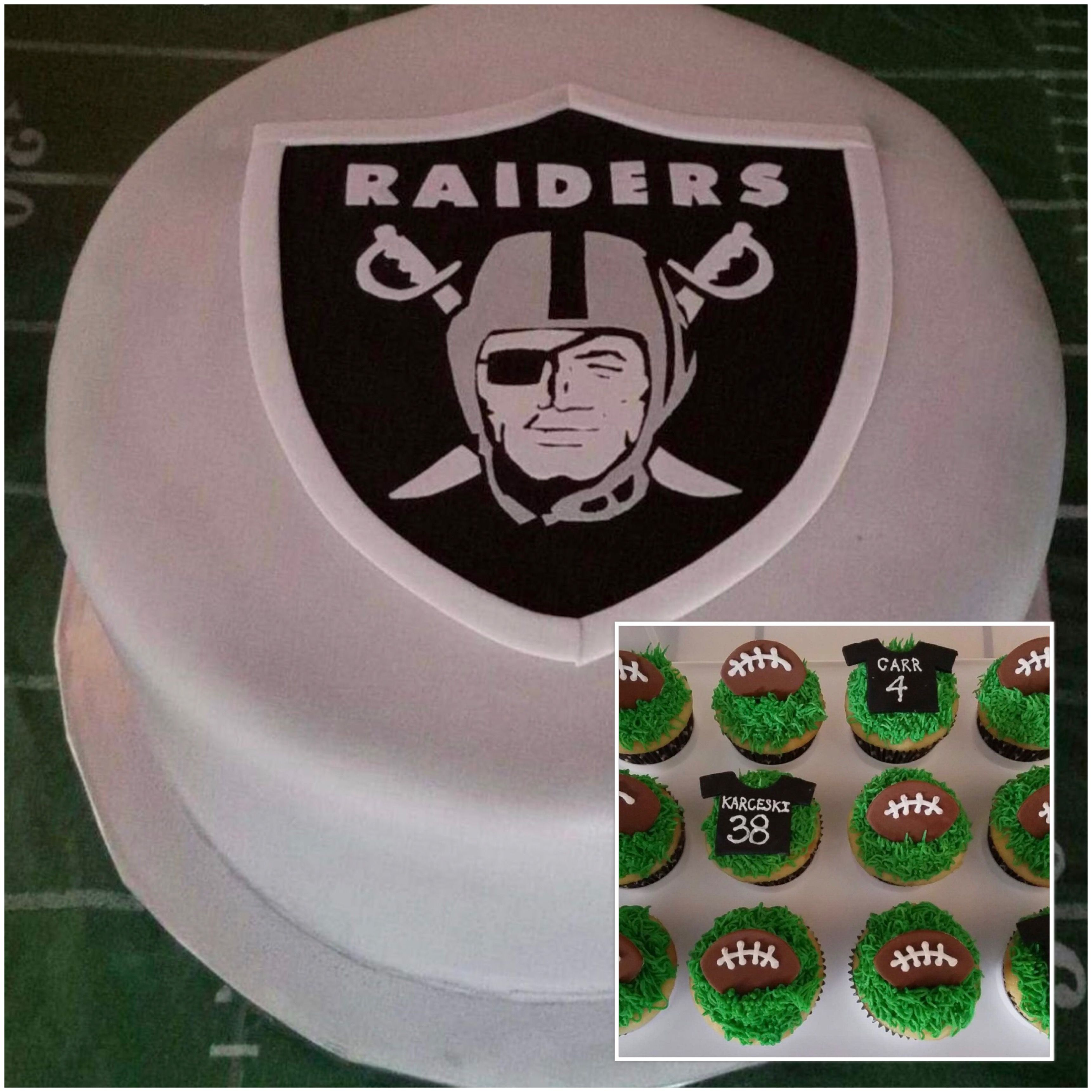 Oakland Raiders Birthday Cake And Cupcakes My Completed Cakes