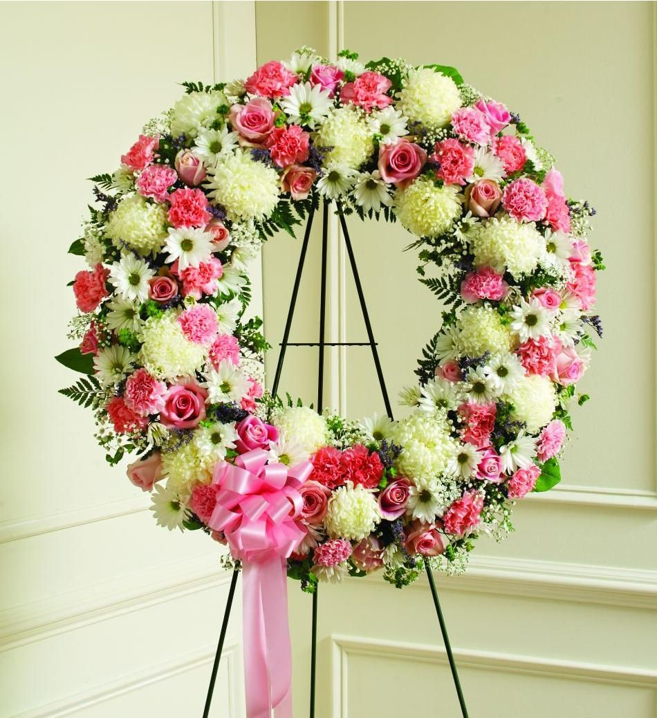 Pin by on wreath pinterest wreaths sympathy flowers flower wreaths pink white blessings daisy floral crowns floral wreaths margarita flower bellis perennis izmirmasajfo Images