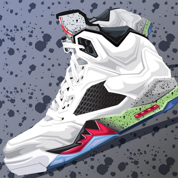 Blocknation illustrates the Air Jordan 5 Retro ProStars saluting the cartoon  classic starring Bo Jackson, Wayne Gretzky, and Michael Jordan.