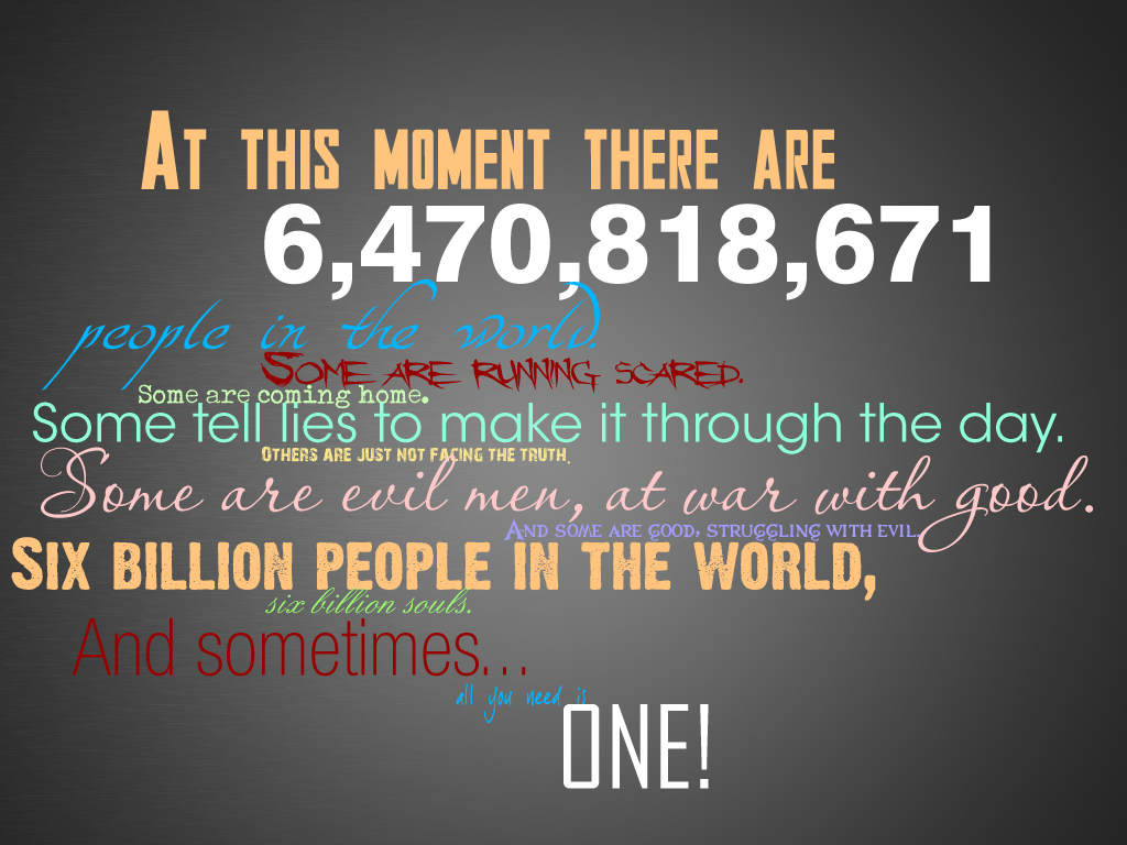 Six Billion People Six Billion Souls