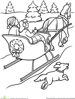 winter first grade holiday worksheets sleigh ride coloring page