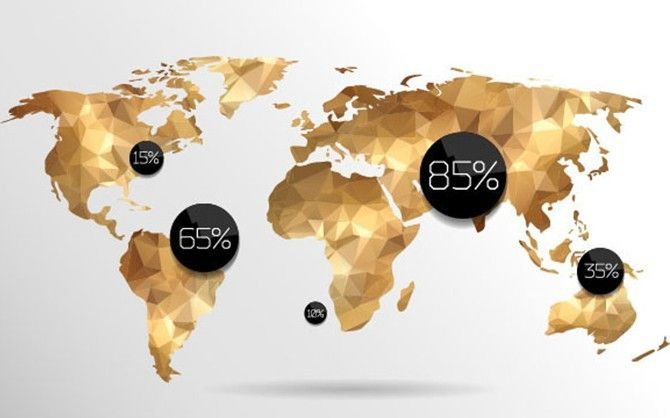 Free Golden Polygon World Map Vector Map design - new world map software download for mobile
