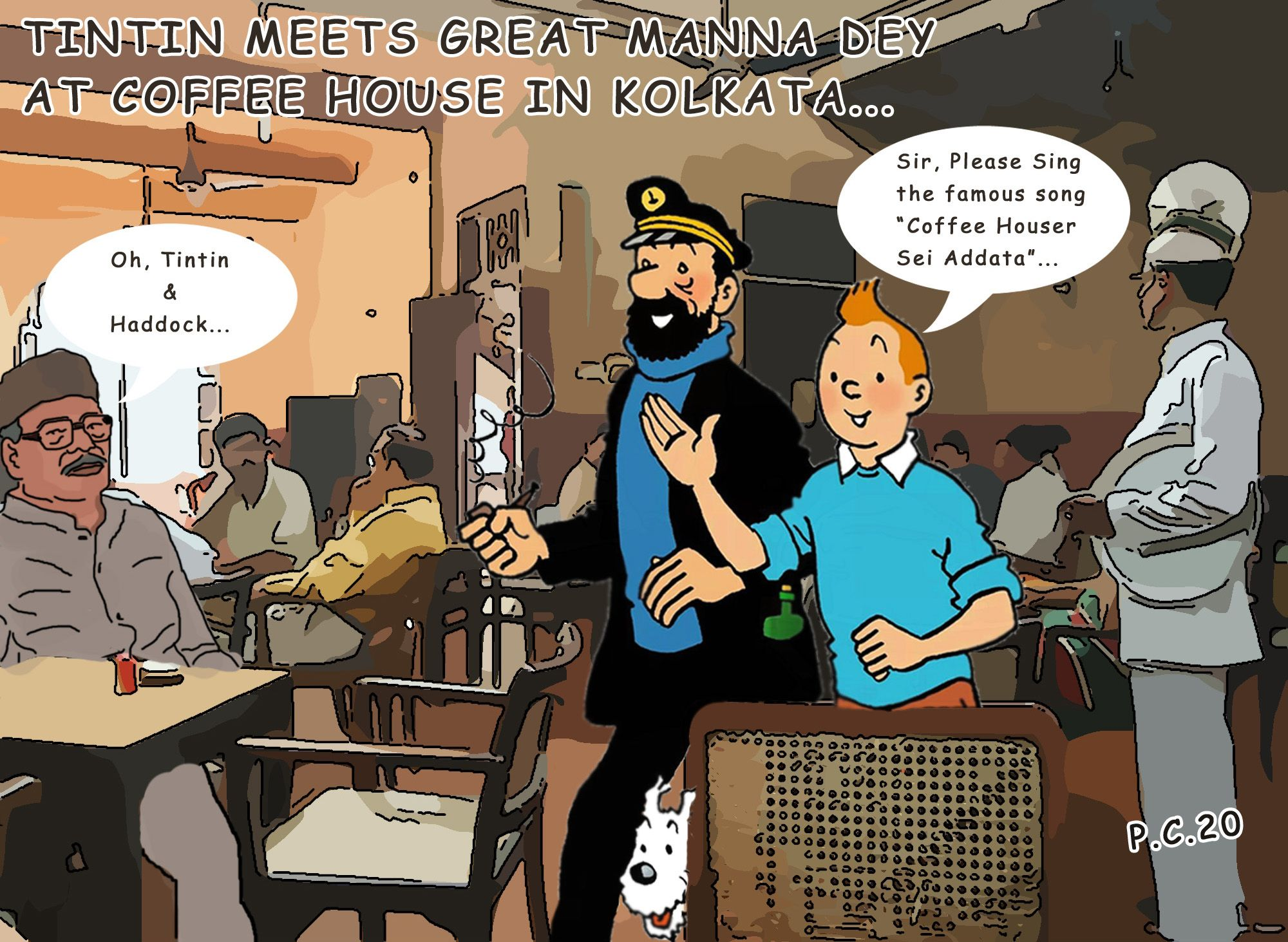 Tintin at Coffee House in Kolkata with Manna Dey in 2020