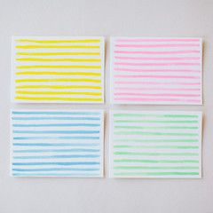 Monochrome Stripe Card Set - Charlotte Lane - Bright single-color striped cards, in pink, green, blue, and yellow. Perfect for thank you notes or stationery. Available in flat or folded. Set of 8, $20.