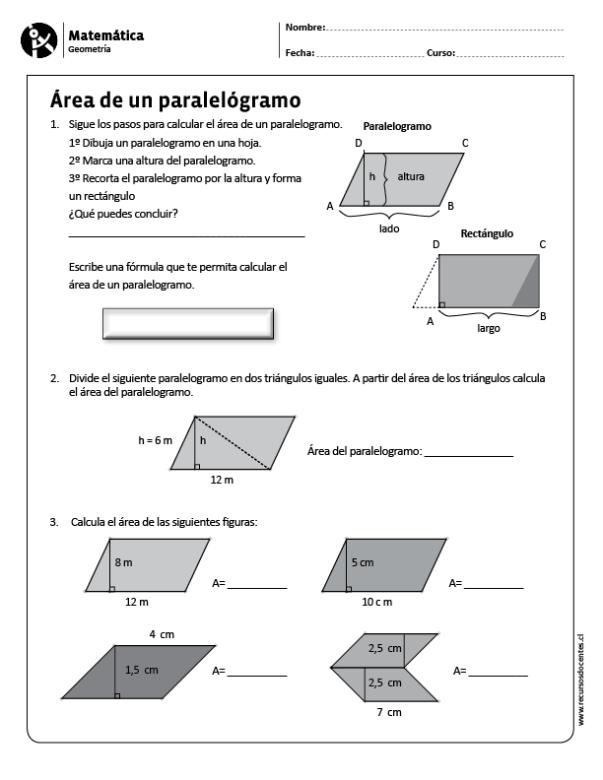 Area De Un Paralelogramo Matematicas Angulos Matematicas Geometria