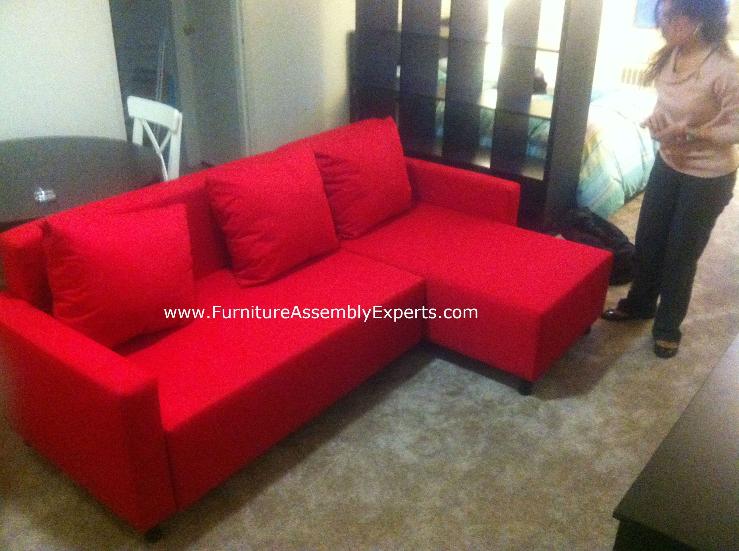 Ikea Sectional Sofa Bed Red Assembled At State House Apartments In  Washington DC By Furniture Assembly