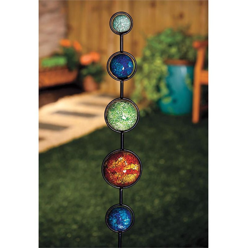 add color without plants solar mosaic balls garden stake