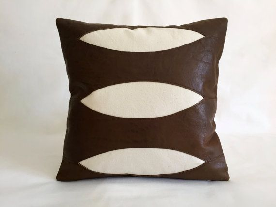 Dark Brown Leather Pillow Brown Leather And Natural Cotton