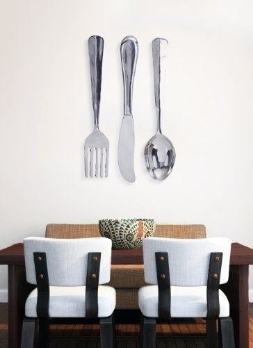 Spoon And Fork Wall Decor deco 79 aluminum wall decor, 36 x 8-inch, large knife, spoon, fork