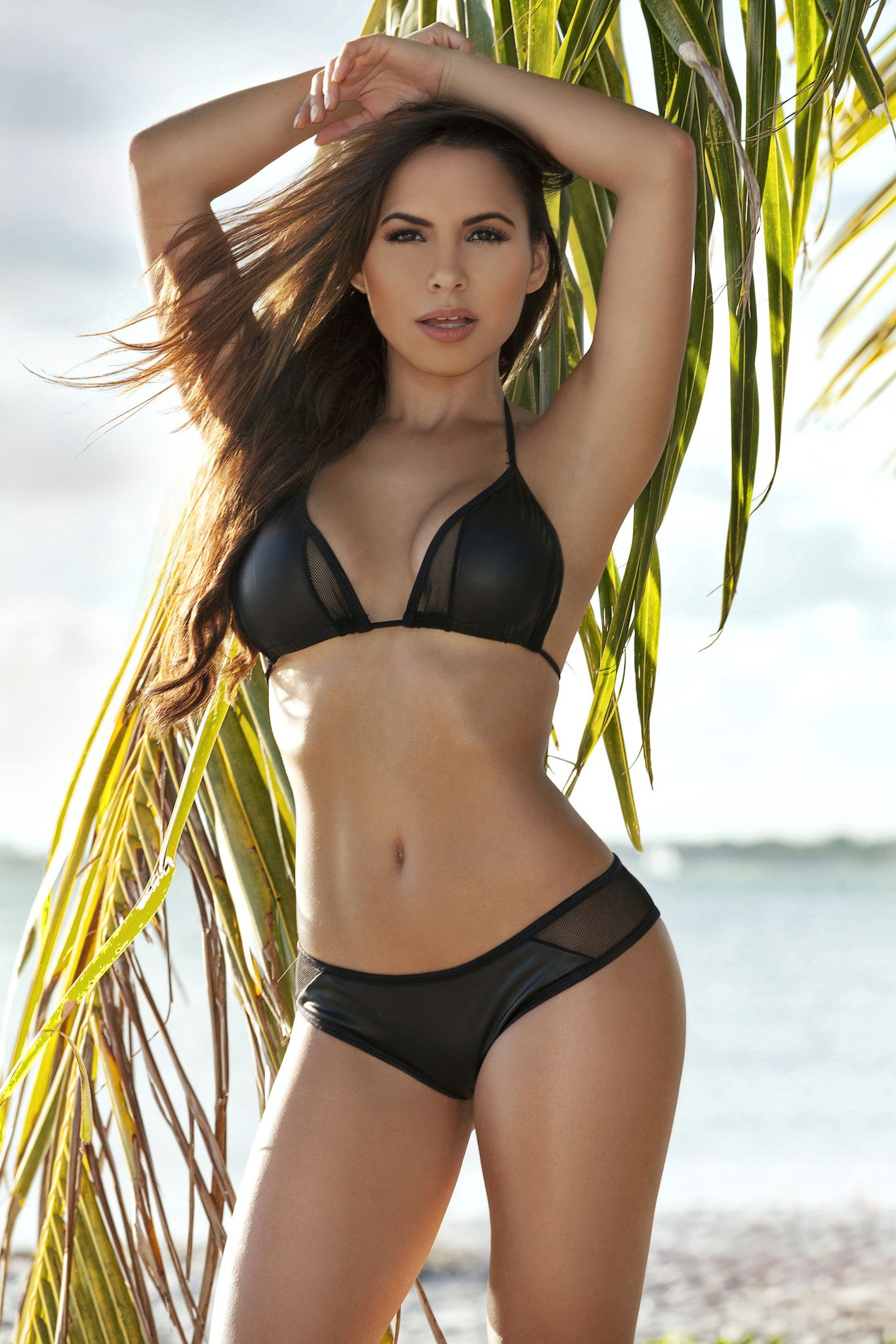 ae85020c45 Hot Black Faux Leather Mesh Bikini from PIRATA COUTURE