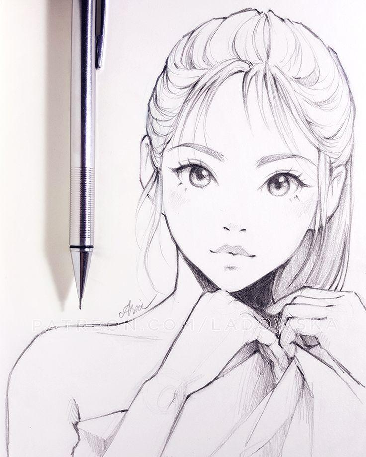 Zeichnung, Manga, Mädchen, gebundenes Haar, süß, kawaii Augen, ... von Ladowska #girlhair