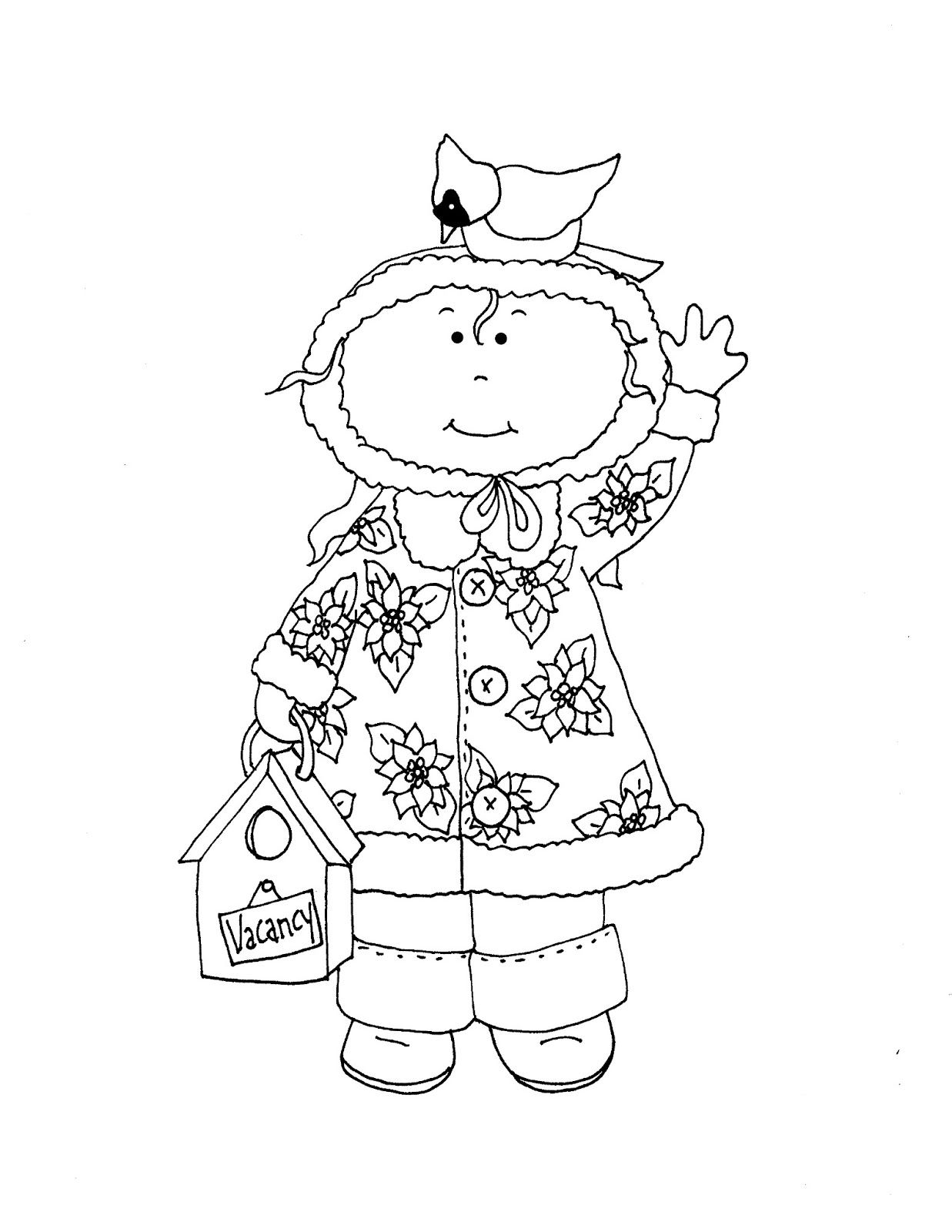 Free Dearie Dolls Digi Stamps Christmas In July Dearie With Cardinal Digi Stamps Coloring Pages Winter Digi Stamps Free