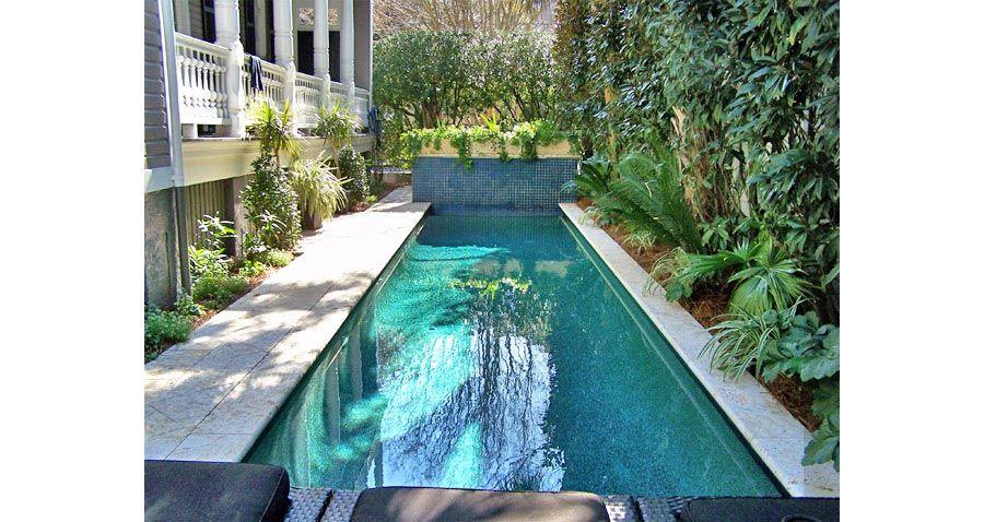 Beautiful Lap Pool Built In Narrow Yard Along Broad Street In Charleston Sc Back Drop Serves As Both A Planter And Waterf Building A Pool Lap Pool Spa Pool