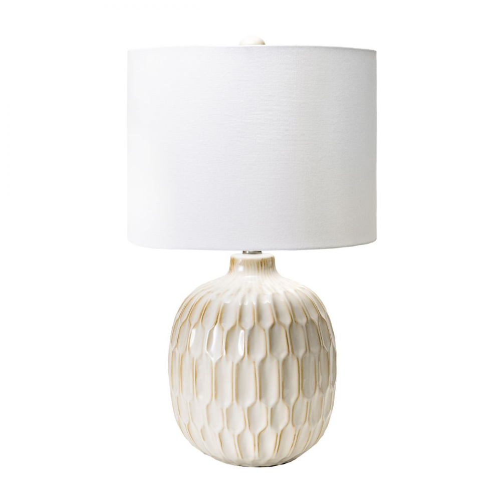 Alva 25 Inch Ridged Ceramic Honeycomb Vase Table Lamp Cream Lamp In 2020 Vase Table Lamp Cream Table Lamps Honeycomb Vase