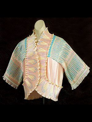 Zandra Rhodes pleated satin jacket printed with Indian feathers pattern, c.1972.