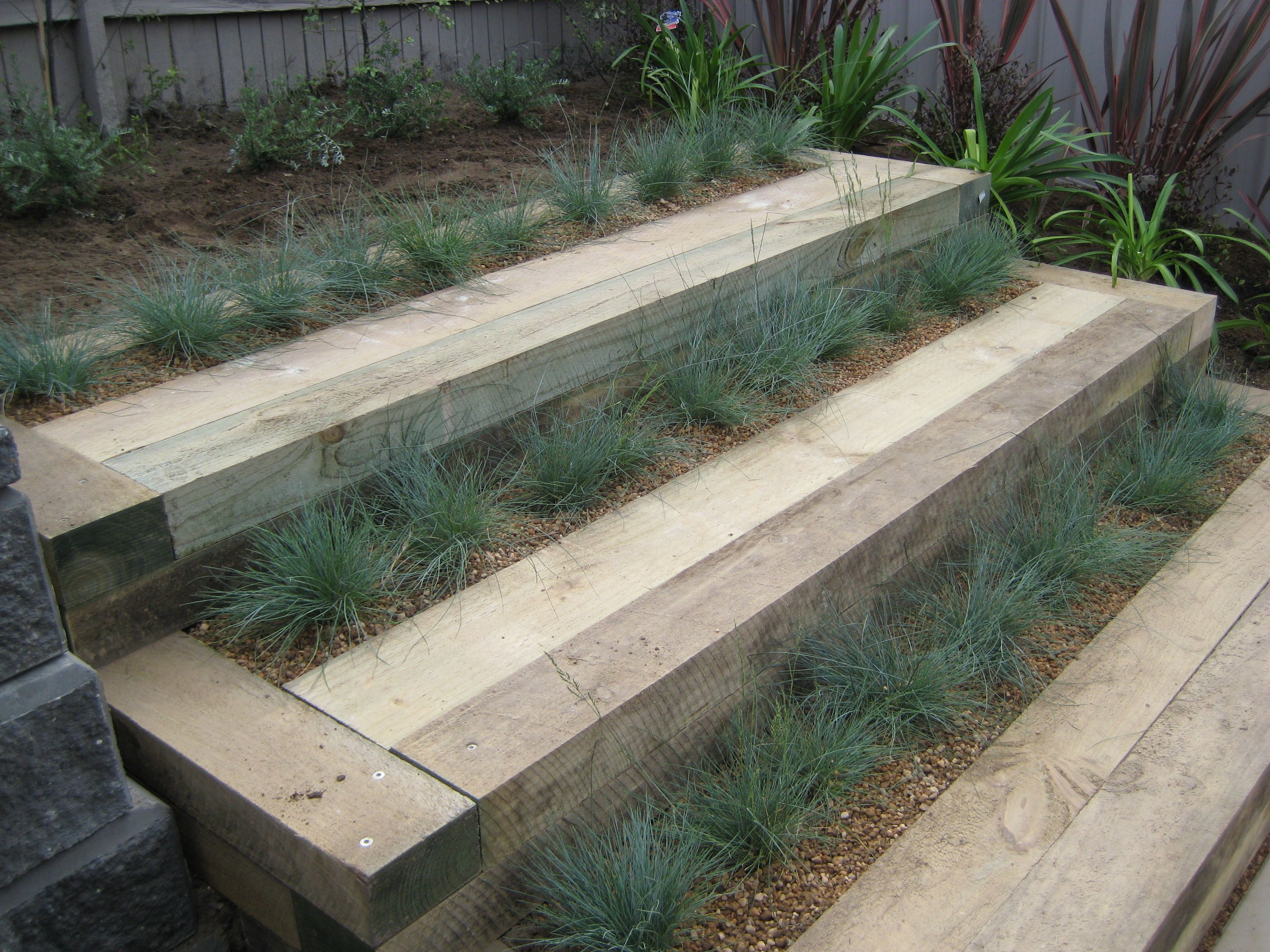 idea for steps, i combined sleepers and festuca | my garden designs ...