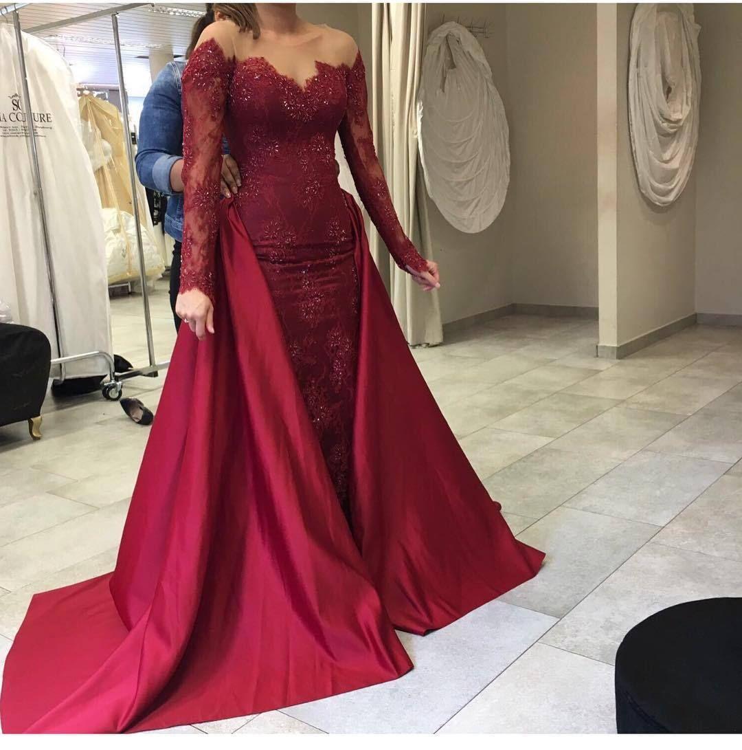 Long sleeves evening gownsmermaid prom dressburgundy evening dress